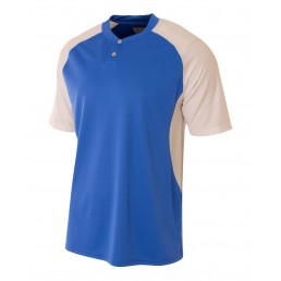 A4 2-Button Henley w/Contrast Stretch Soccer Mesh